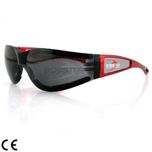 Riding Glasses, Bobster Shield II, Red Frame (SKU: 0100-0812 SMOKED LEN)