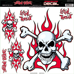 "Decal/Sticker, Red Flaming Skull -11.5 x 11.75"" Assorted (SKU: 1600-0129)"