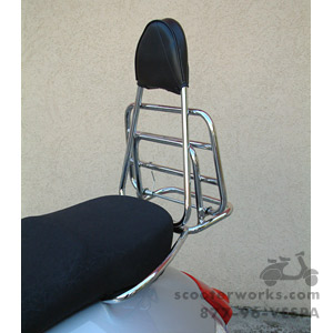 Backrest. Vespa GTS250 - Fits Cuppini Rack (SKU: GTSBR1)