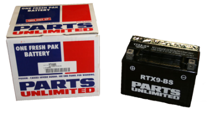 Battery, 9-BS (WPS Brand OR Parts Unlimited Brand depending on stock availability)