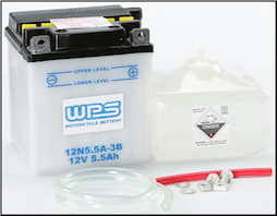 Battery, 12N5.5A-3B (WPS Brand or Parts Unlimited Brand depending on stock availability)