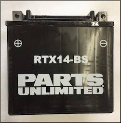 Battery, 14-BS (WPS Brand or Parts Unlimited Brand depending on stock availability) (SKU: RTX14-BS)