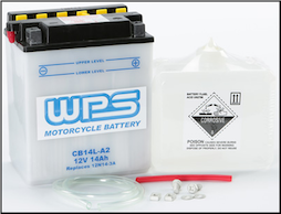 Battery, 14L-A2 (WPS Brand or Parts Unlimited Brand depending on stock availability) (SKU: 490-2216)