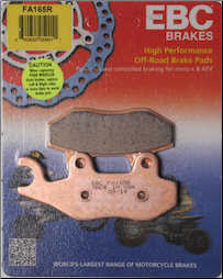 Brake Pads, FA165R EBC Chinese Scooters (SKU: 15-165R)