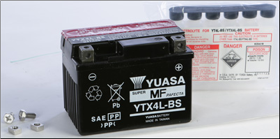 Battery, 4L-BS (Yuasa Brand) (SKU: 49-1949 or YTX4L-BS)