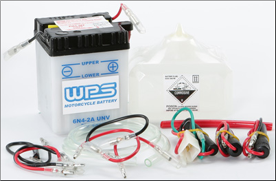 Battery, 6N4-2A-8 (WPS Brand or Parts Unlimited Brand depending on stock availability)