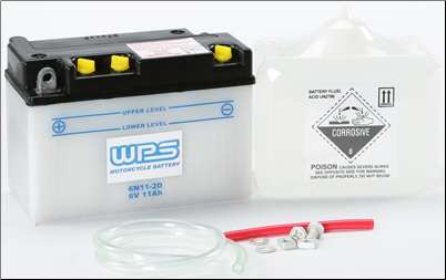 Battery, 6N11-2D (WPS Brand or Parts Unlimited Brand depending on stock availability)
