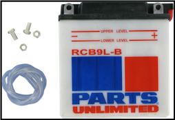 Battery, 9L-B (WPS Brand or Parts Unlimited Brand depending on stock availability) (SKU: RCB9L-B and 49-3004  490-2174)