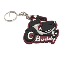 Keychain, Rubber - Buddy (SKU: KC-BUDDY1 RED)