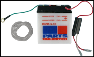 Battery, 6N5.5-1D (WPS Brand or Parts Unlimited Brand depending on stock availability) (SKU: R6N5.5-1D and 49-3004   490-2045)
