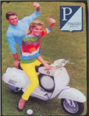 Tin Sign, Vespa SS90 w/waving riders 14x10