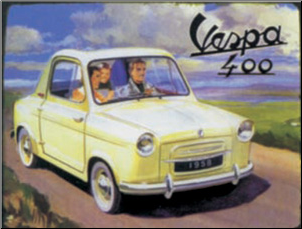 Tin Sign, Vespa 400 Car 14x10