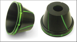 NCY Plated Fork Protectors - 12mm, Black & Green