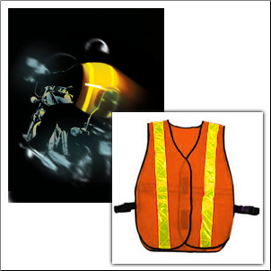 Orange Safety Vest w/LED Light Bar