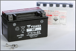 Battery, 7A-BS (Yuasa Brand) (SKU: 49-1956 or YTX7A-BS)