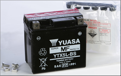 Battery, 5L-BS (Yuasa Brand) (SKU: YTX5L-BS or 49-1954)