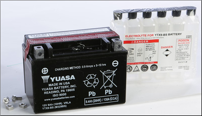Battery, 9-BS (Yuasa Brand) (SKU: YTX9-BS or 49-1959)