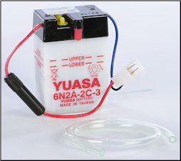Battery, 6N2A-2C-3 Yuasa Brand (SKU: 49-1618 and 49-3004)