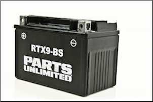 Battery, 9-BS (WPS Brand OR Parts Unlimited Brand depending on stock availability) (SKU: RTX9-BS)