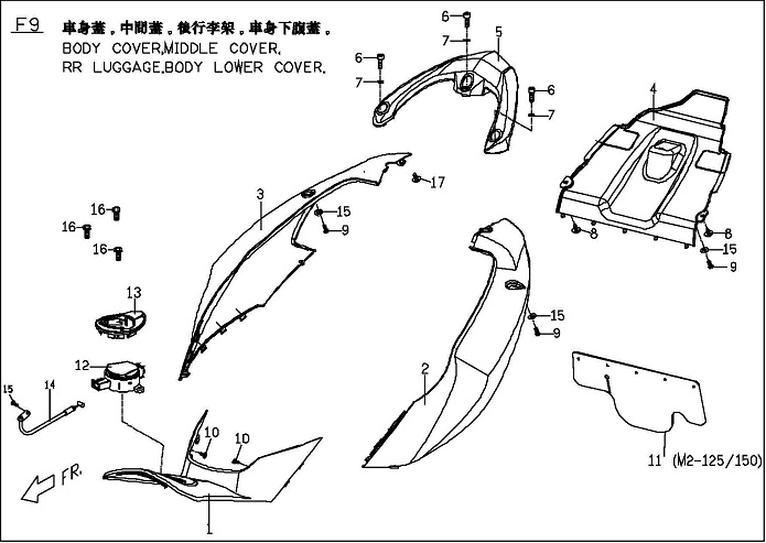 Genuine Blur Body Cover, Middle Cover, Rear Luggage, Body Lower Cover